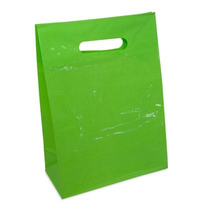 Kunststofftragetasche in grün für den Einzelhandel, für Geschenke und Kosmetik