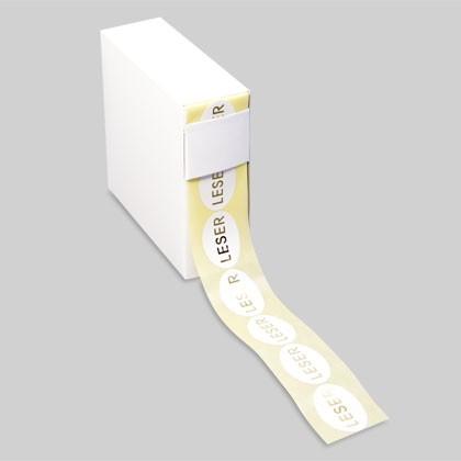 Aufkleber oval zur Kennzeichnung von Geschenkartikeln, Kosmetik, fürs Marketing
