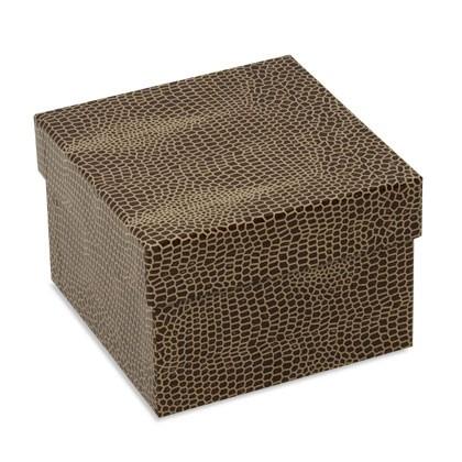 Braune Schachtel im aktuellen Look bedruckt für Präsente, Accessoires und Schmuck