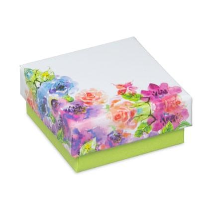 Kleine Kartonschachtel bedruckt mit buntem Blumenmuster passend für Ohrschmuck
