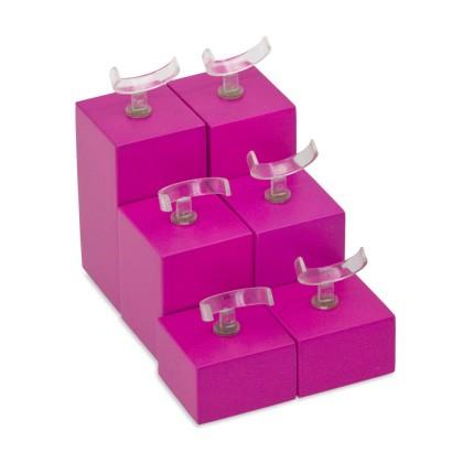 6 Holzklötze in Pink, Deko-Set, Display Set zur Schaufenstergestaltung und Dekoration