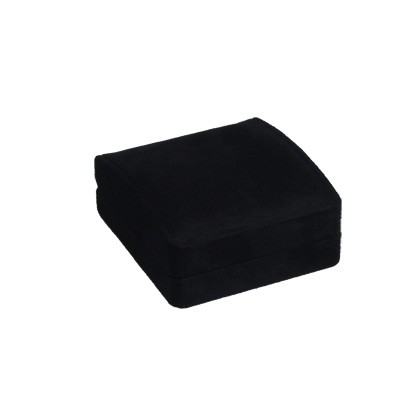 Schwarzes hochwertig überzogenes Etui mit Deckelkissen und Einlage für Trauringe