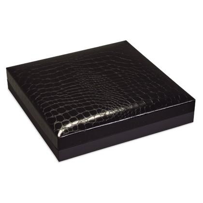 Hochwertige flache Schatullen in Schwarz zum verpacken von Gold- und Silberschmuck