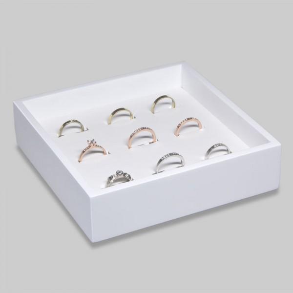 Tablett mit Wendeeinlage für 9 Ringe 150x150x40 mm